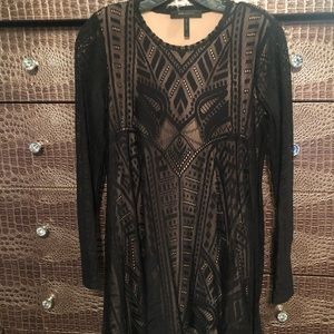 Bcbg black lace and nude dress
